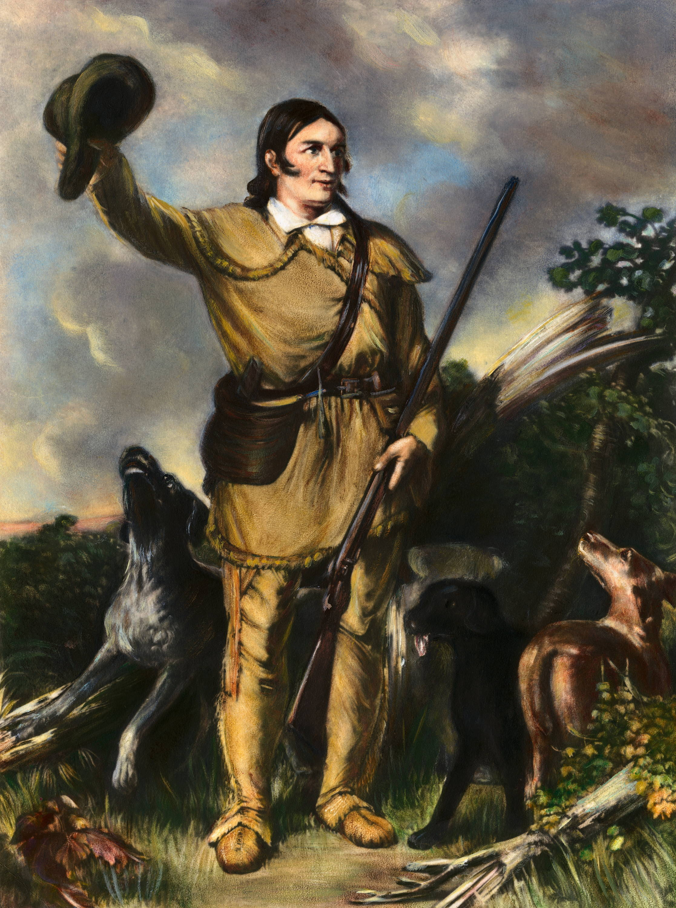 ILlustration of Davey Crockett holding a pistol and surrounded by animals
