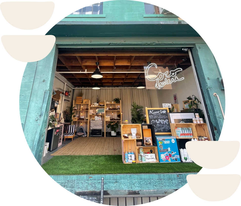 circular photo of cocodealers' dtla storefront with white abstract design features