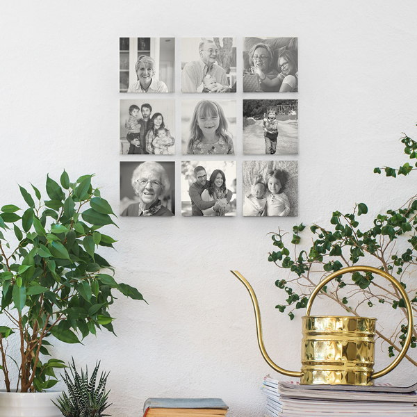 grid of small square wood wall photos