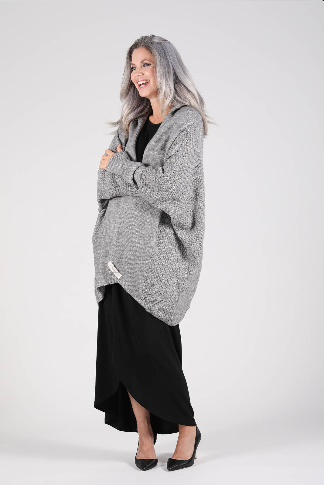 The chunky-knit Zeville Cocoon Cardigan in grey