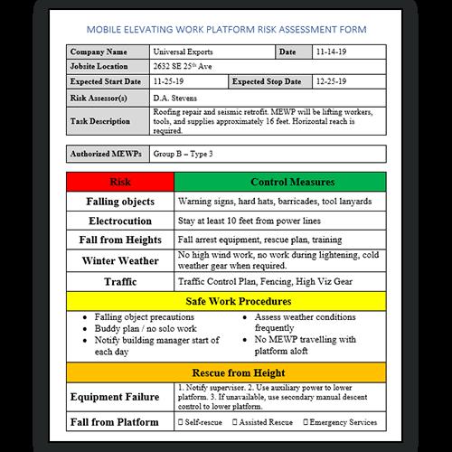 MEWP Risk Assessment Form