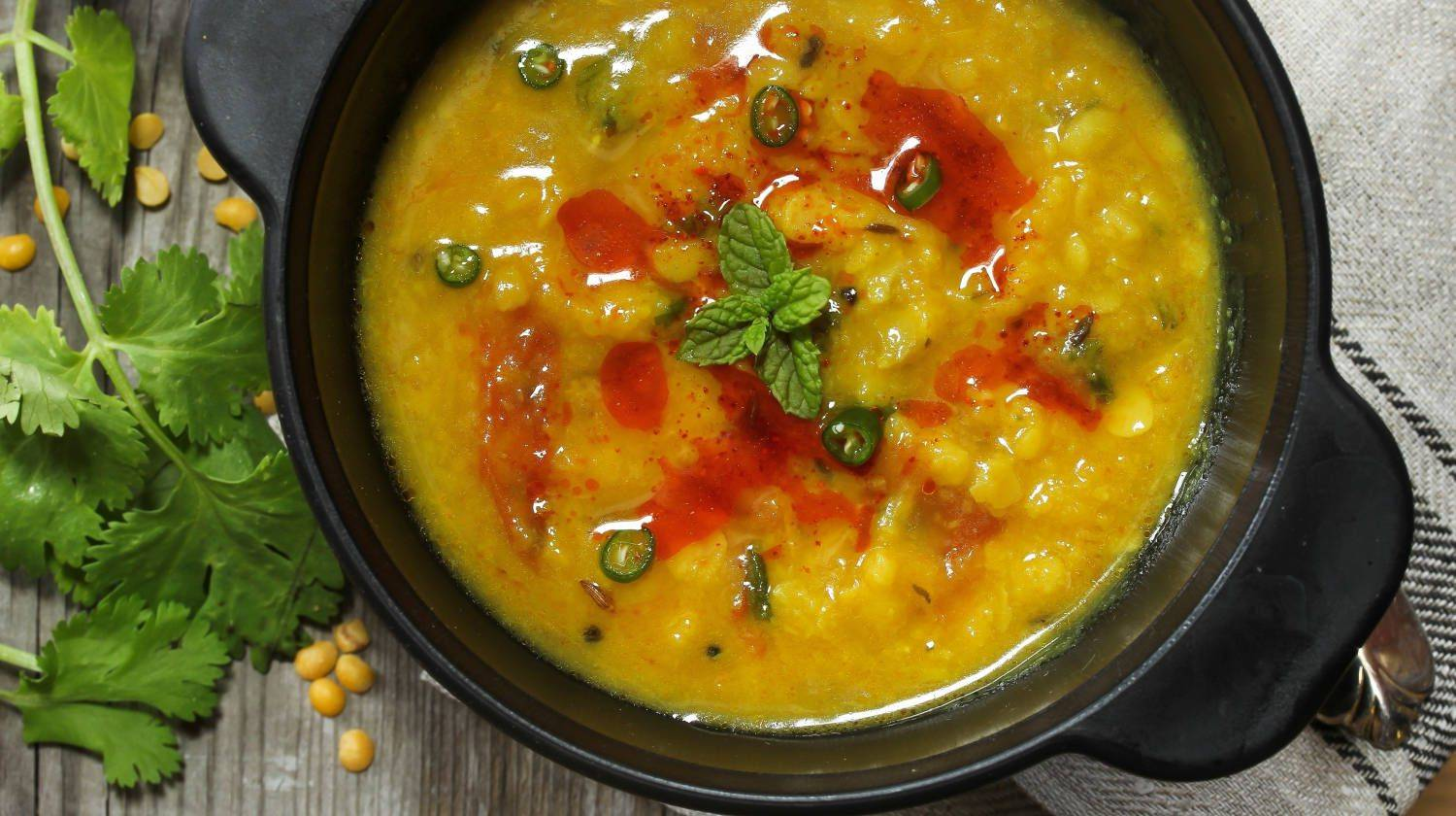 Indian Lentil Curry top down view   How To Make The Famous Healing Kitchari Stew   kitchari spice mix   Featured