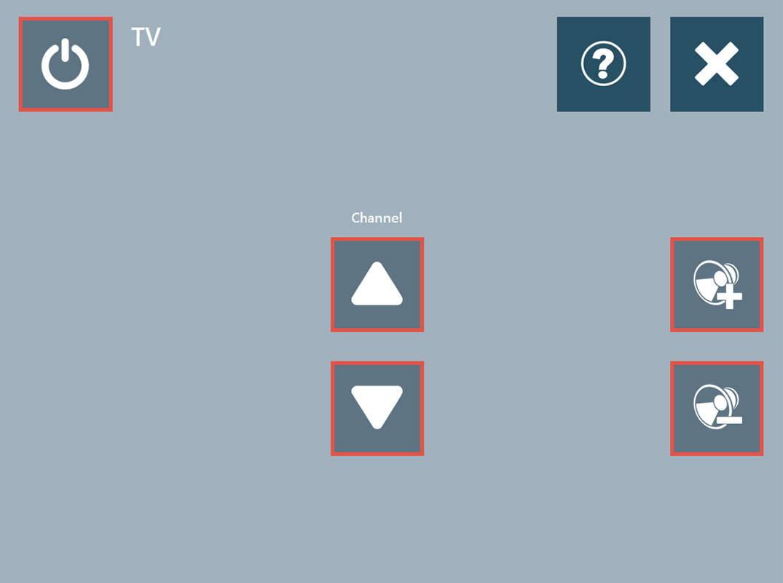 Eksempel på fjernstyring for TV i Communicator 5