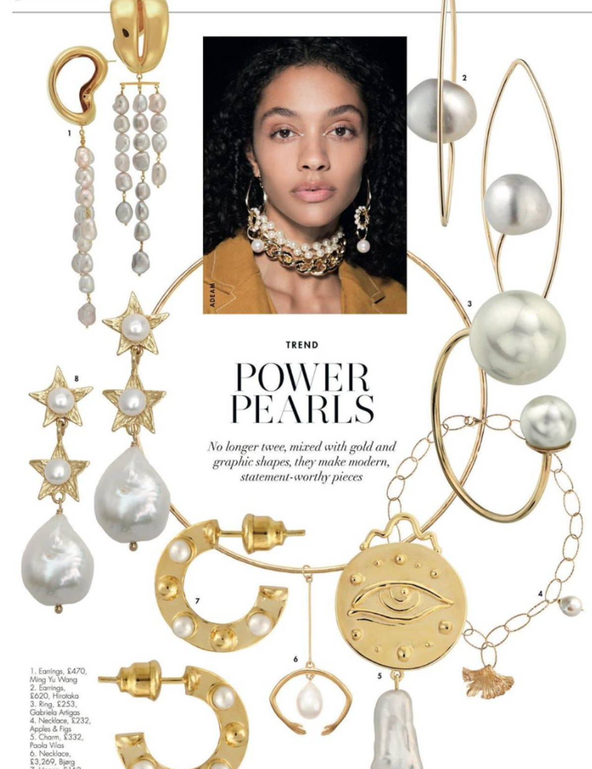 soru jewellery in hello fashion monthly, electra pearl earrings