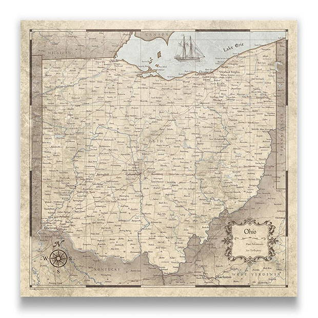 Ohio Push pin travel map rustic vintage