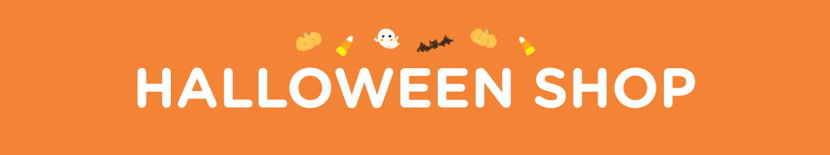 Seasonal banner depicting Halloween elements for our Halloween Shop