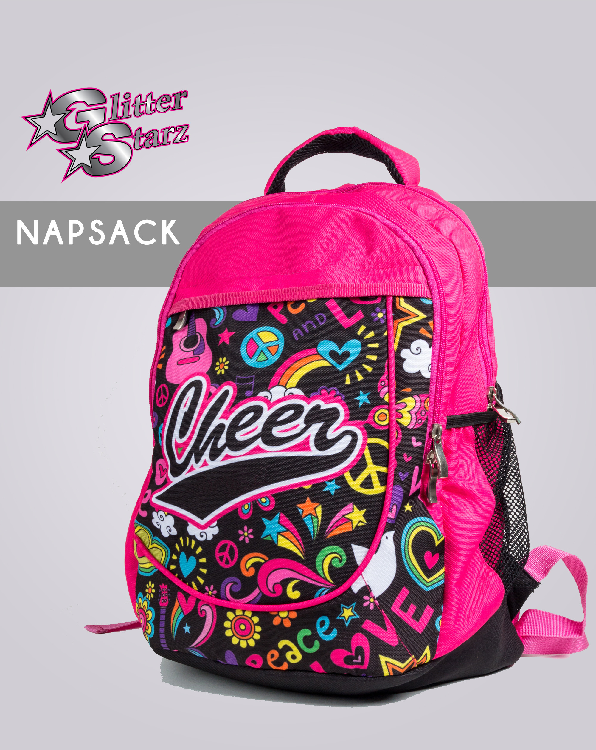 glitterstarz custom napsack cheer bag bookbag backpack pink