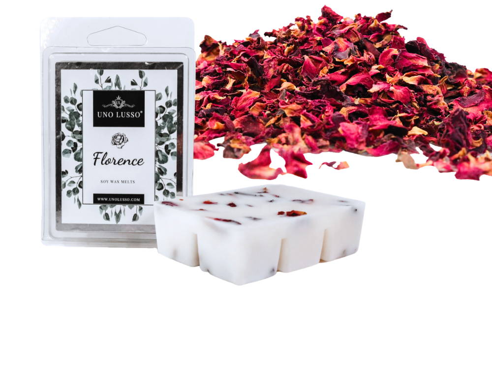 Luxury soy wax melts with real rose petal embeds
