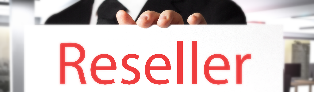 hand holding reseller signage