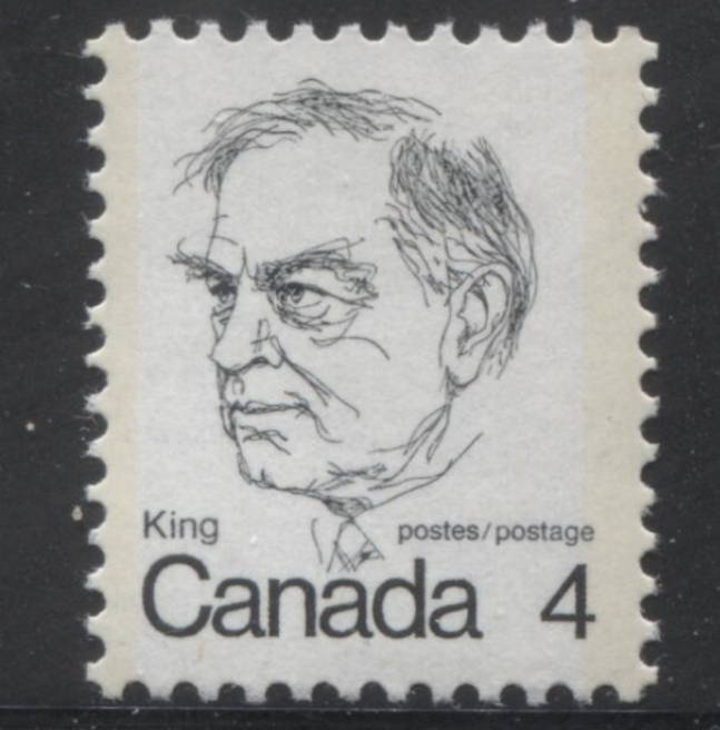 The 4c Mackenzie King stamp from the 1972-78 Caricature Issue of Canada