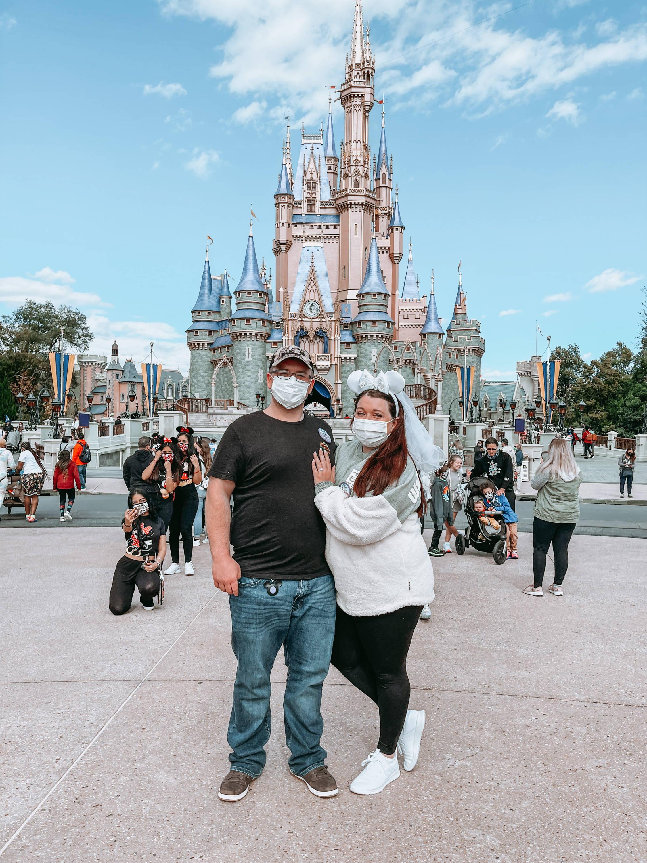 Henne Engagement Ring Couple Regis & Samantha Pose Together at Magic Kingdom