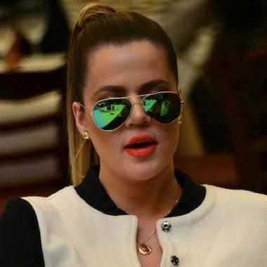 049963c5e0 Khloe Kardashian Wearing Ray-Ban RB3025 Green Aviator Sunglasses
