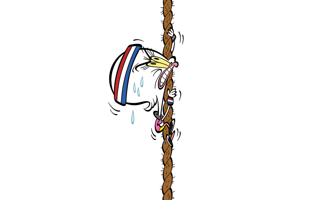 Illustrated character climbing a rope