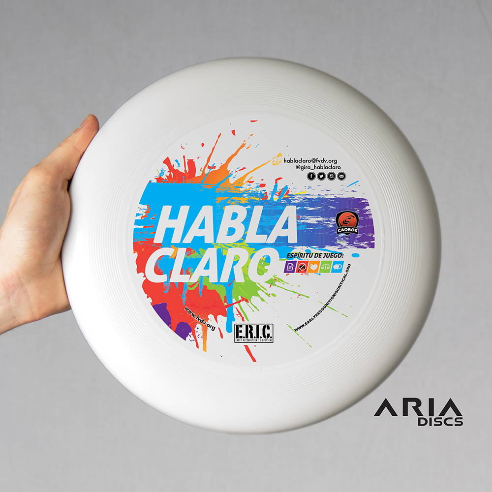 ARIA professional official ultimate flying disc for the sport commonly known as 'ultimate frisbee' eric habla claro tour design art