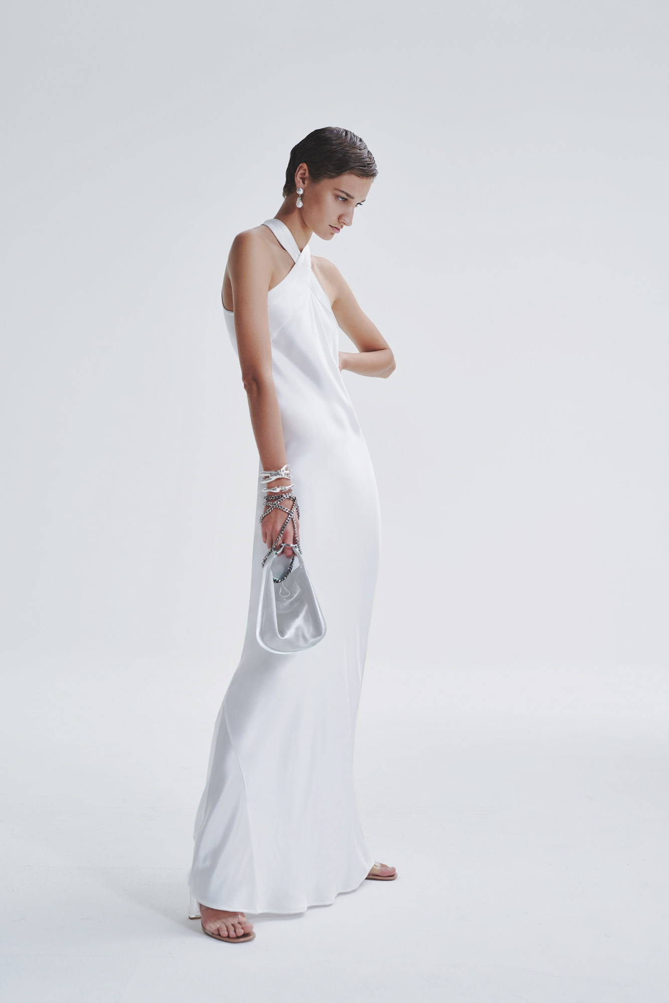Galvan London Bridal Bias-Cut White Silk Dress