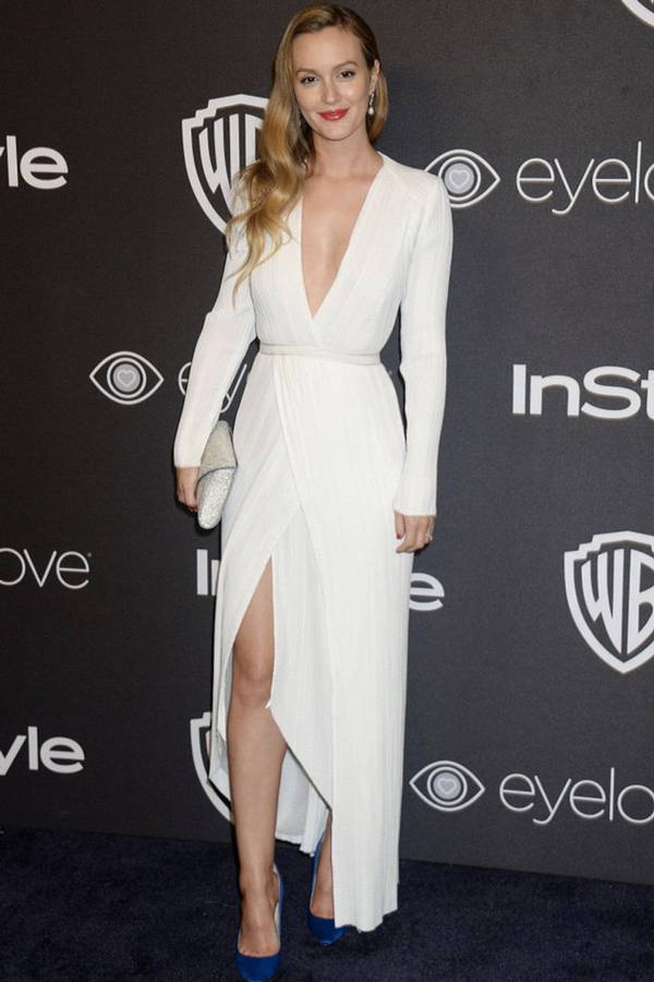Leighton Meester wearing Galvan London V neck Long Sleeves White Satin Gown