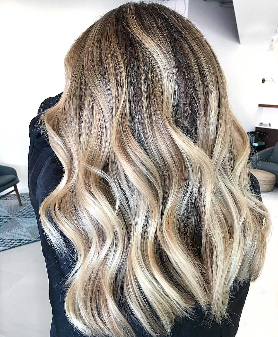 Beach Waves And Straight Hair With Ice Blond Balayage