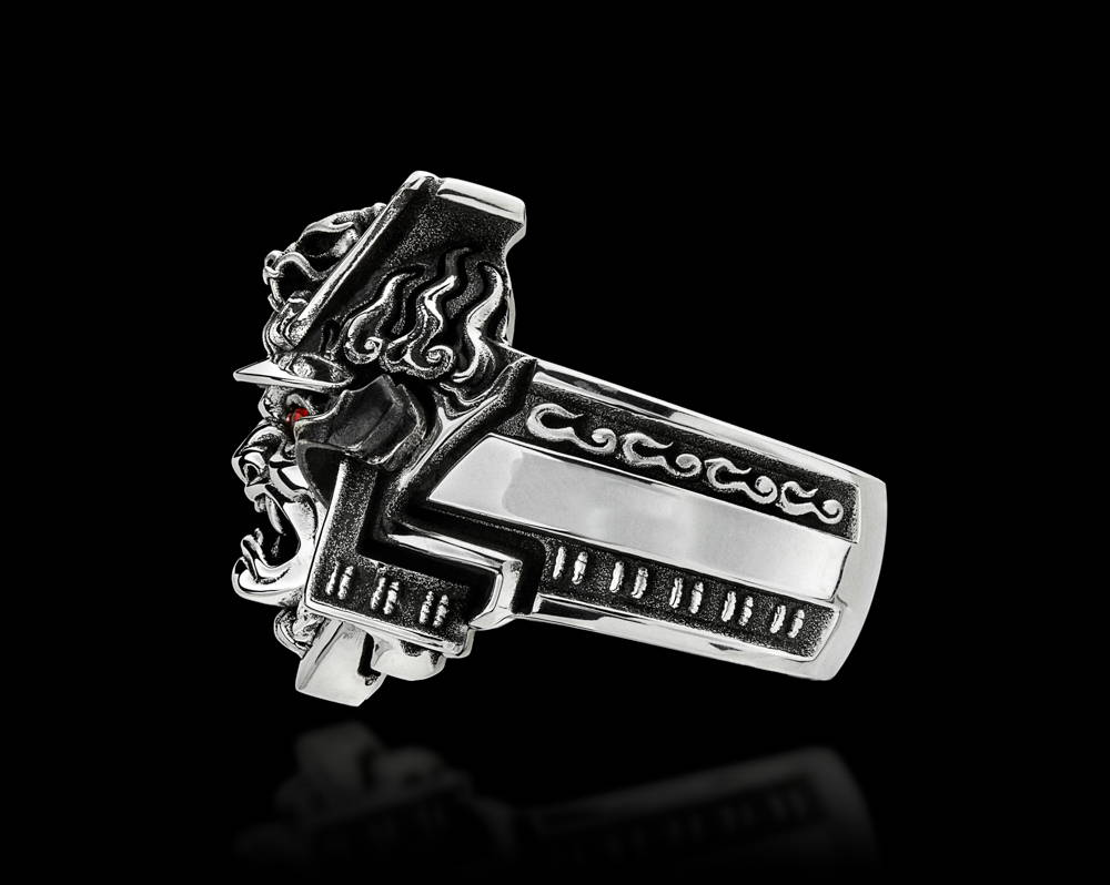 Bushido Silver Samurai Ring, Side View