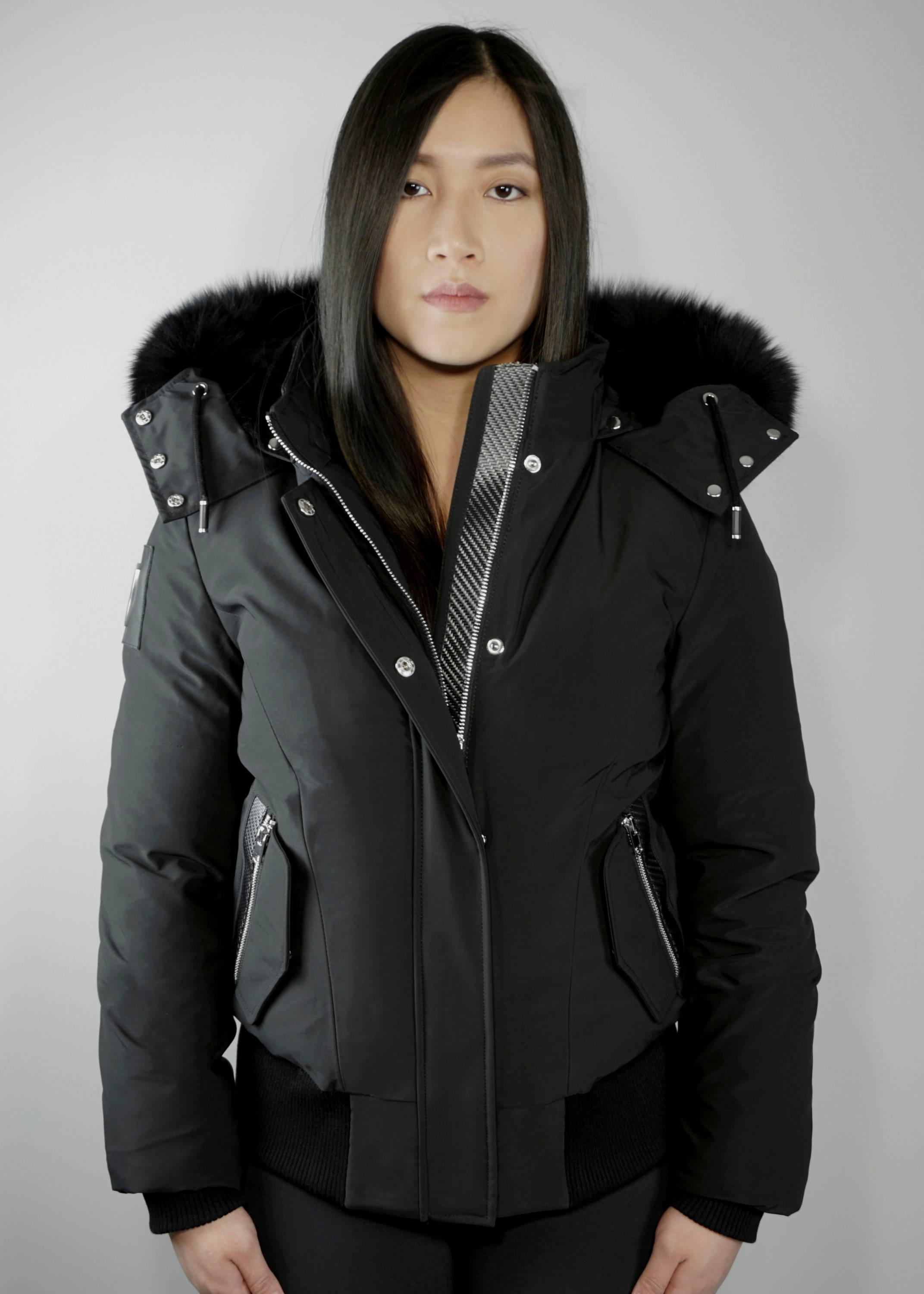 Carbonesque womens raven goose down bomber