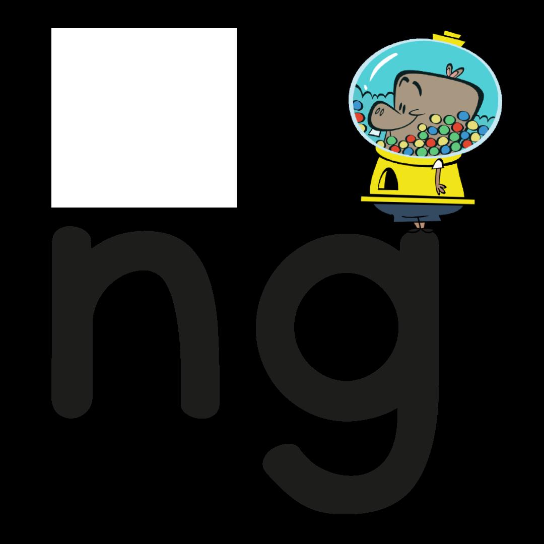 Illustrated character next to the grapheme ng