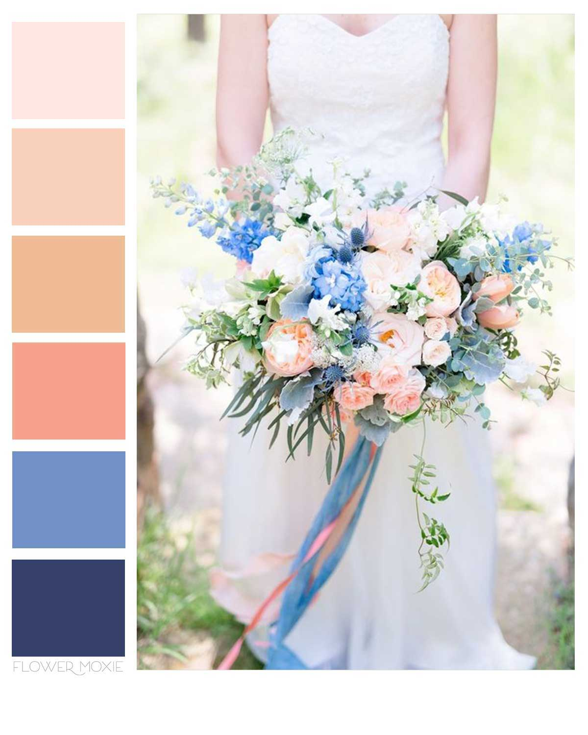 peach and blue wedding flower packages