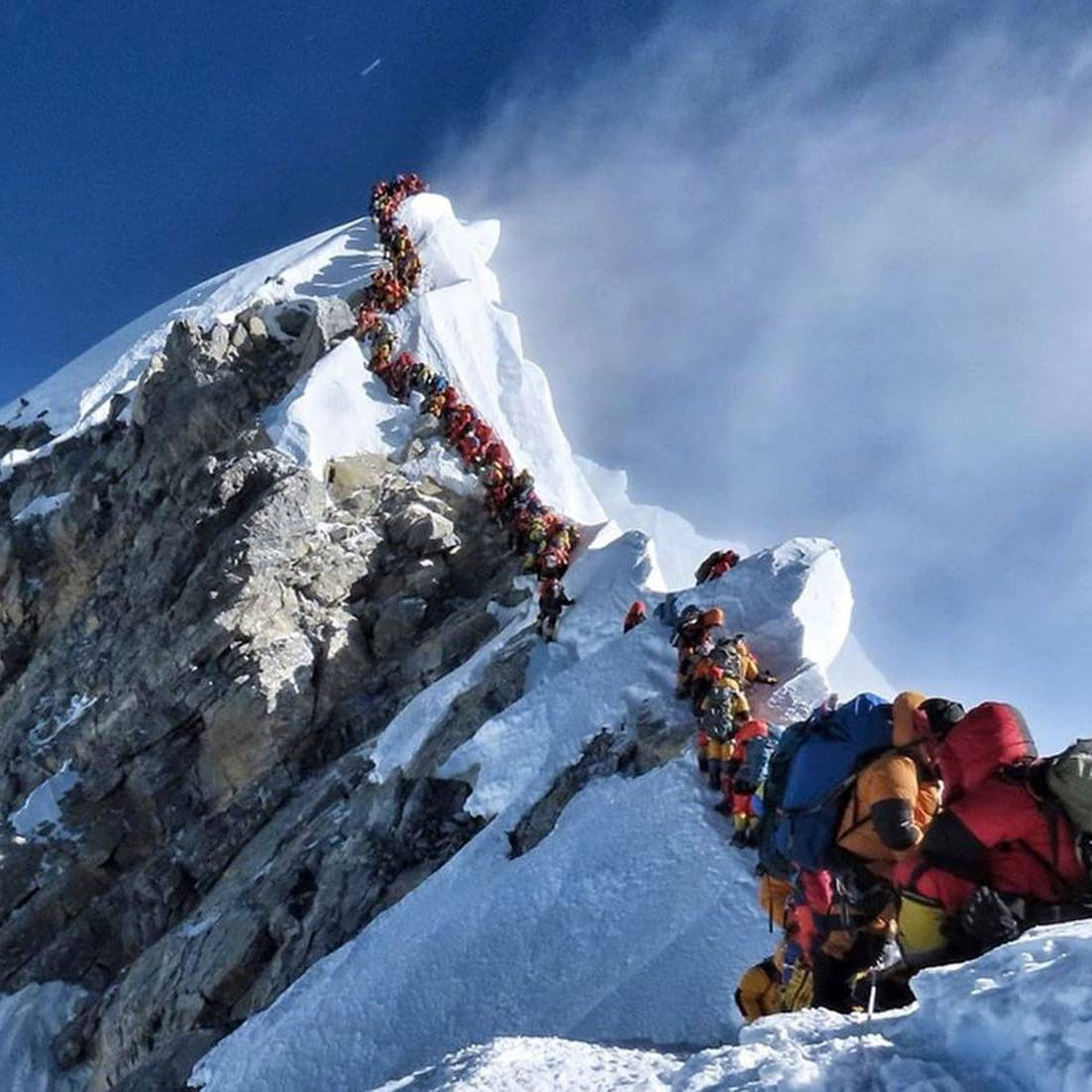 A dangerously long queue of climbers at the summit of Mount Everest