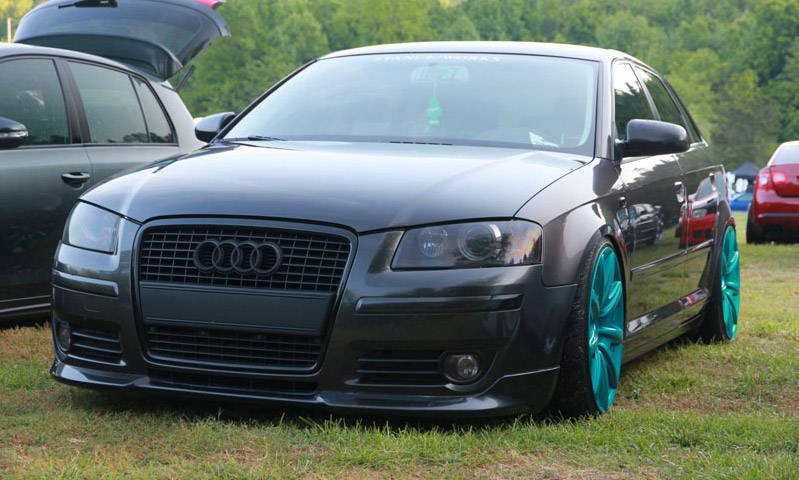 Audi with Gunsmoke Lamin-x fog light film covers