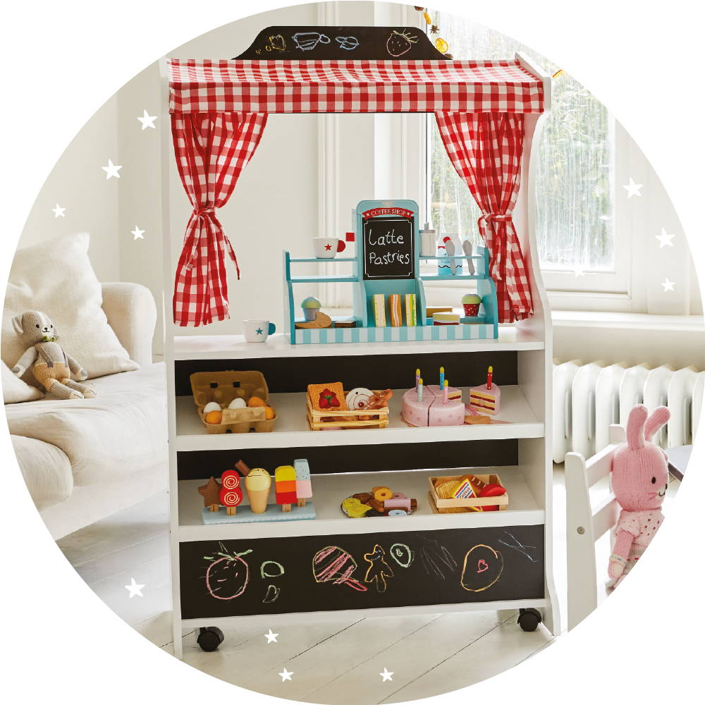 Wooden toy play shop with coffee shop set