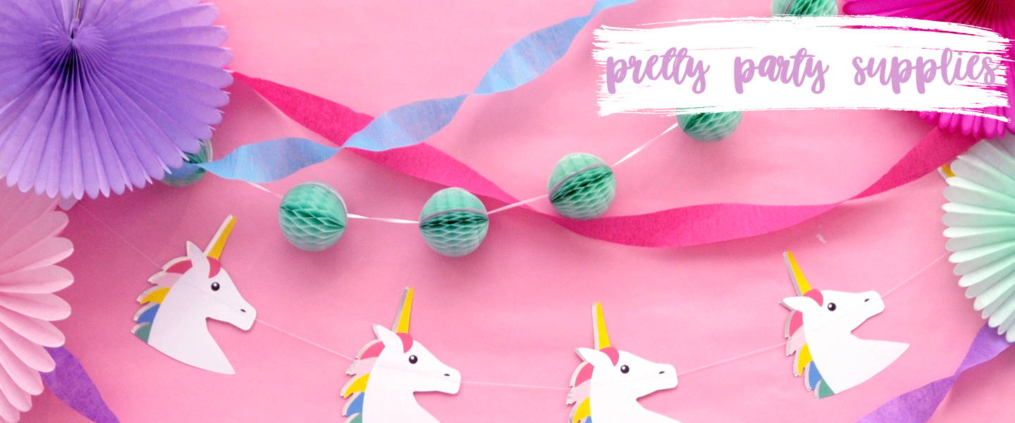 Beautiful, modern and stylish party supplies and decorations for childrens birthdays, baby showers, hen dos and weddings.
