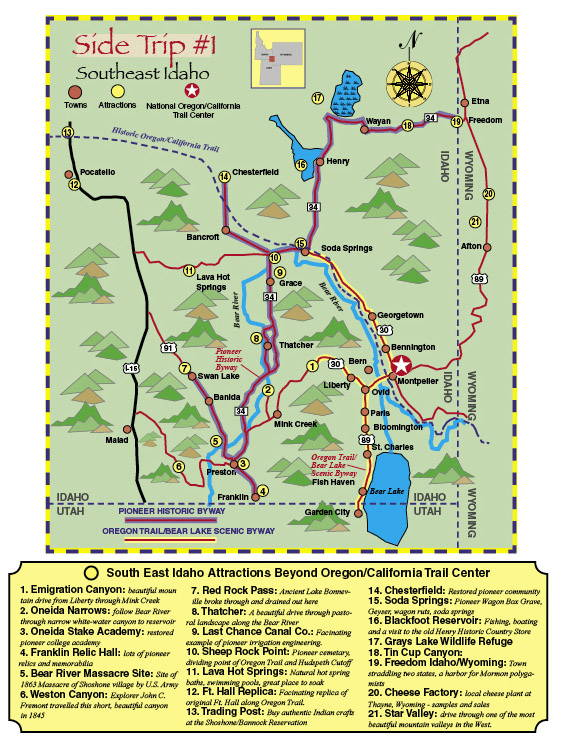Map of SIDE TRIP #1: is the Southeastern Region of Idaho
