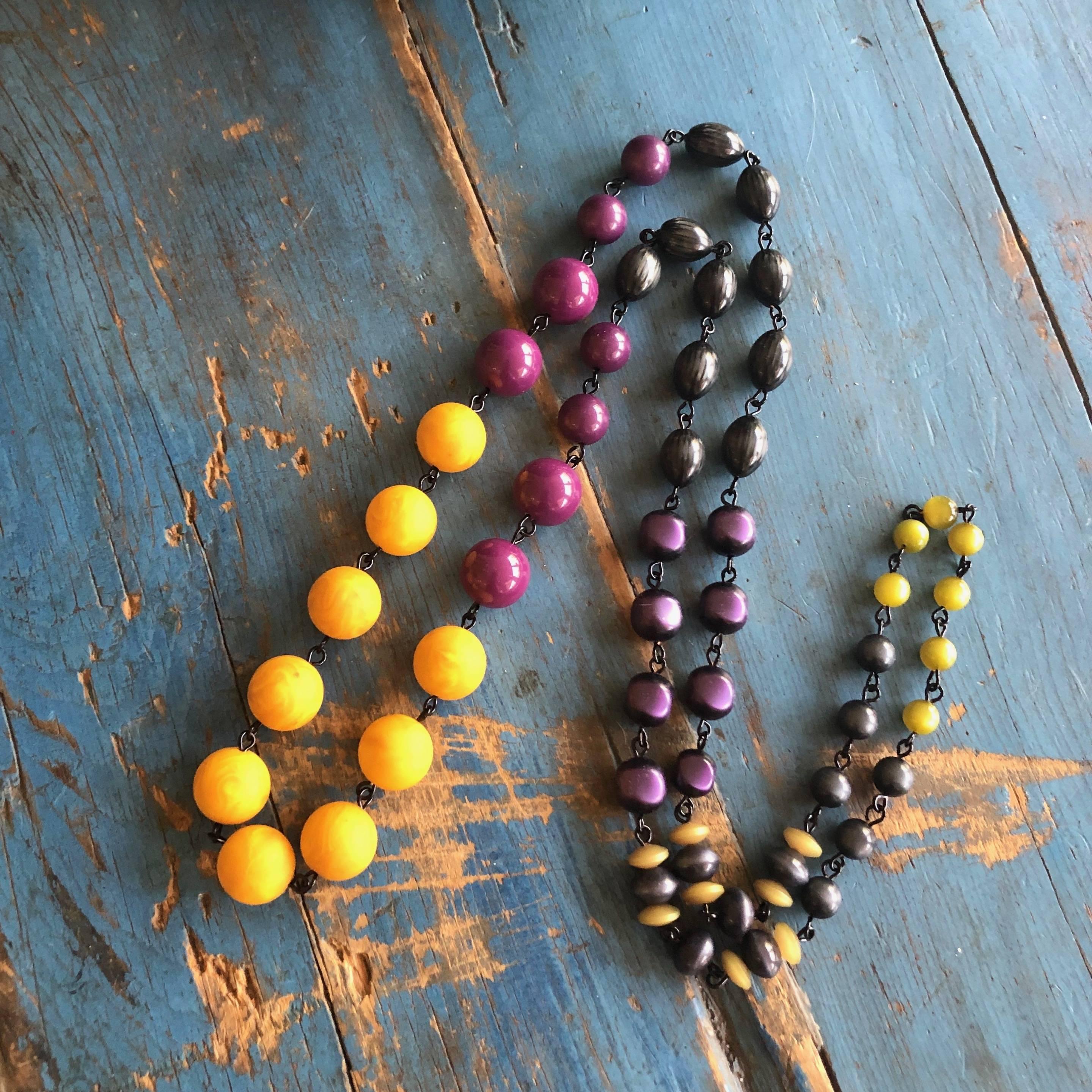 mustard purple necklace