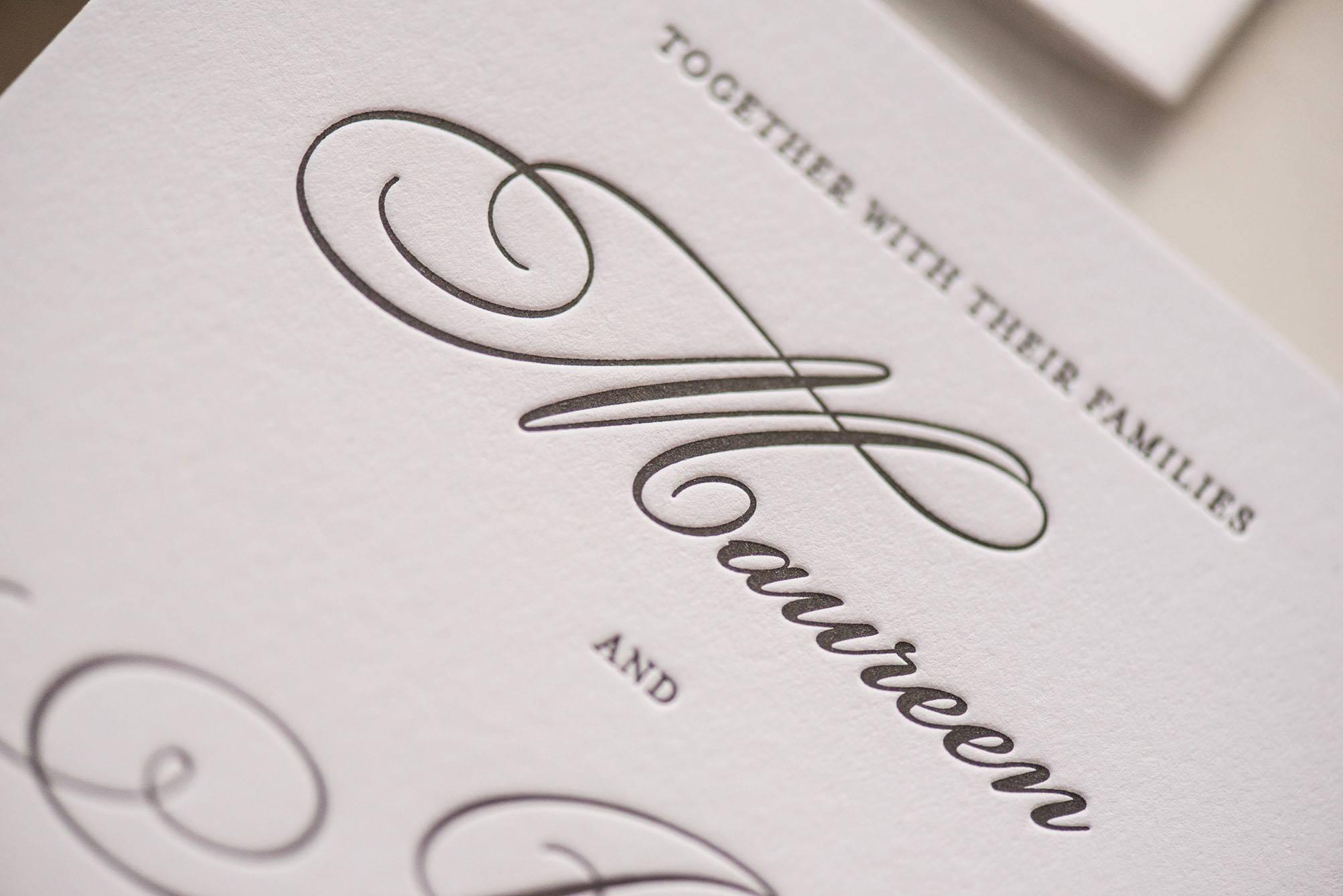 letterpress printing, grey letterpress printing, gray letterpress printing, custom invitation, maureen, wedding invitation