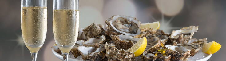High Quality Organics Express Champagne and oysters and lemon