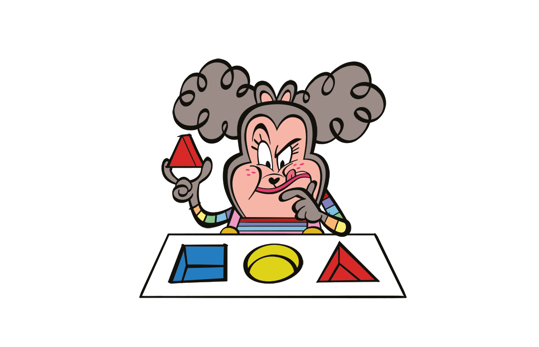 Illustrated character completing a puzzle