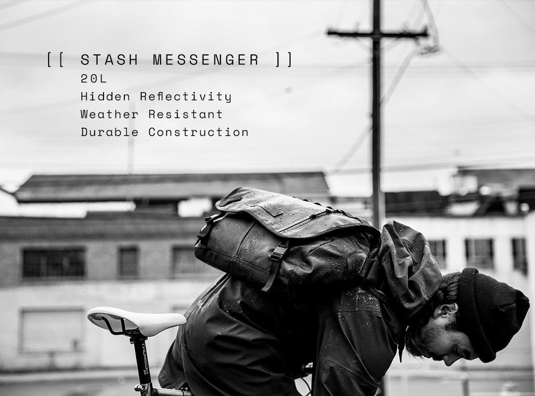 Stash Messenger. 20 Liters. Hidden Reflectivity. Weather Resistant. Durable Construction.