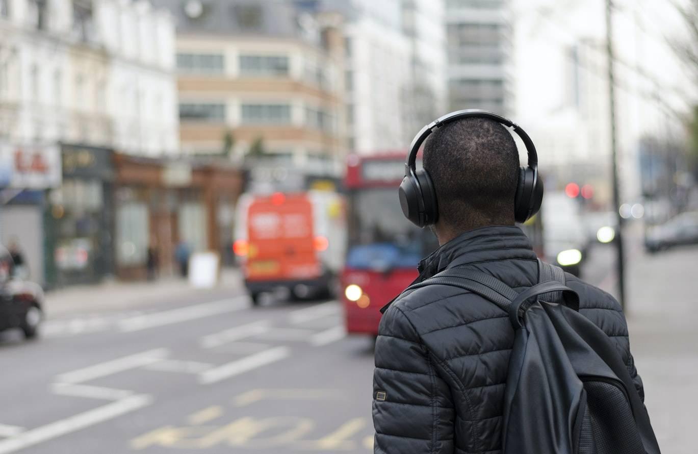 Man Wearing Headphones On The Street