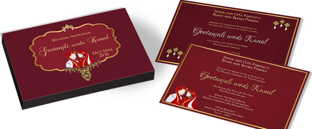 Bride & Groom Traditional Indian Marriage Invitations