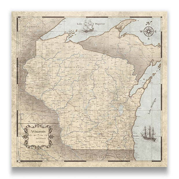 Wisconsin Push pin travel map rustic vintage
