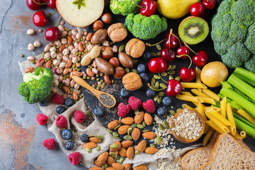 eat healthy with nuts fruits and vegetables