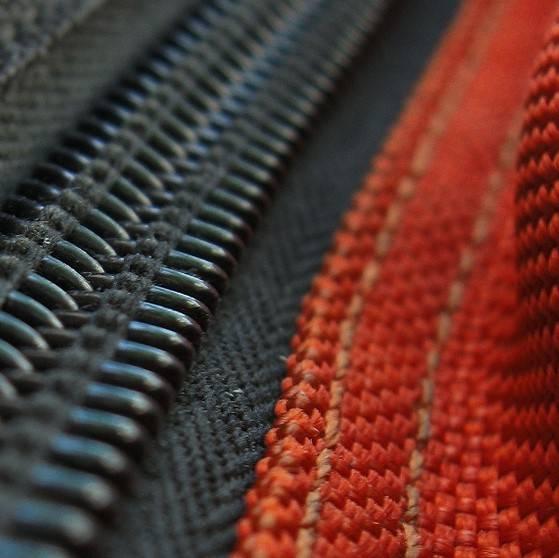 Black and red nylon zip