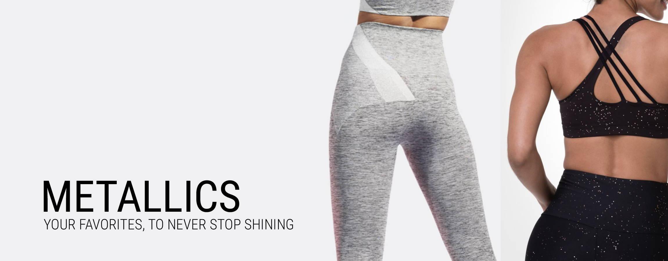 metallic activewear shiny activewear