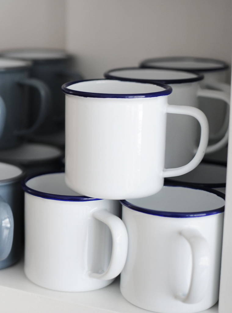 Display of Falcon Enamelware mugs at The Hambledon