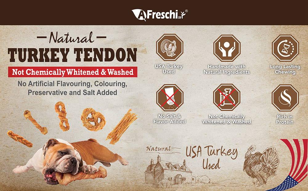AFRESCHI Turkey Tendon Dog Chews Collection
