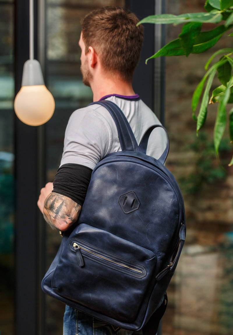 mens navy leather backpack with pockets