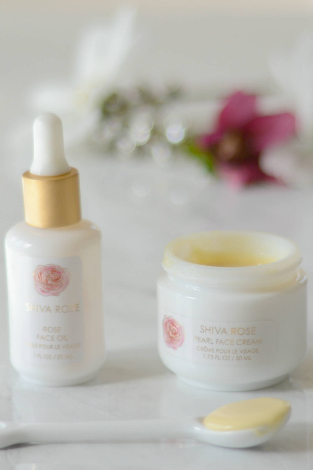 Shiva Rose Face Oil and Pearl Rose Face Cream at Art of Pure