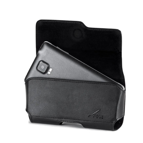 Samsung Galaxy A50 premium leather holster case pouch cover vegan  magnetic closure belt clip