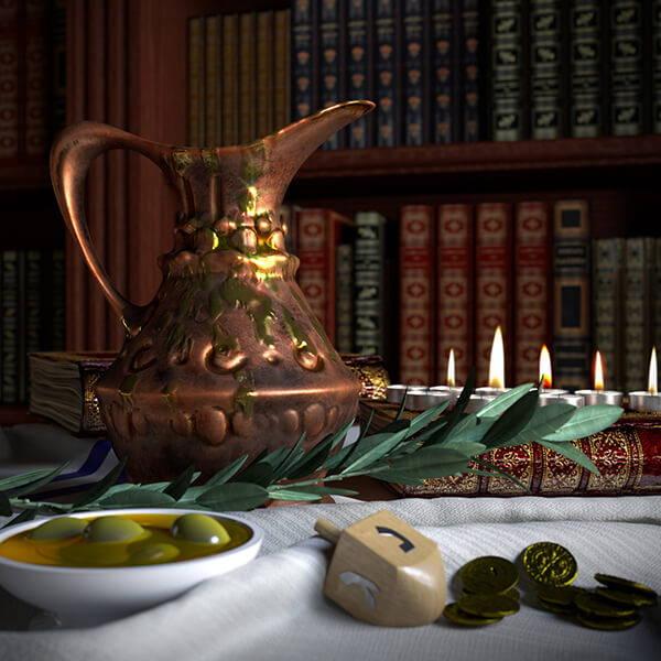 High Quality Organics Express Hanukkah oil with dreidel and gelt