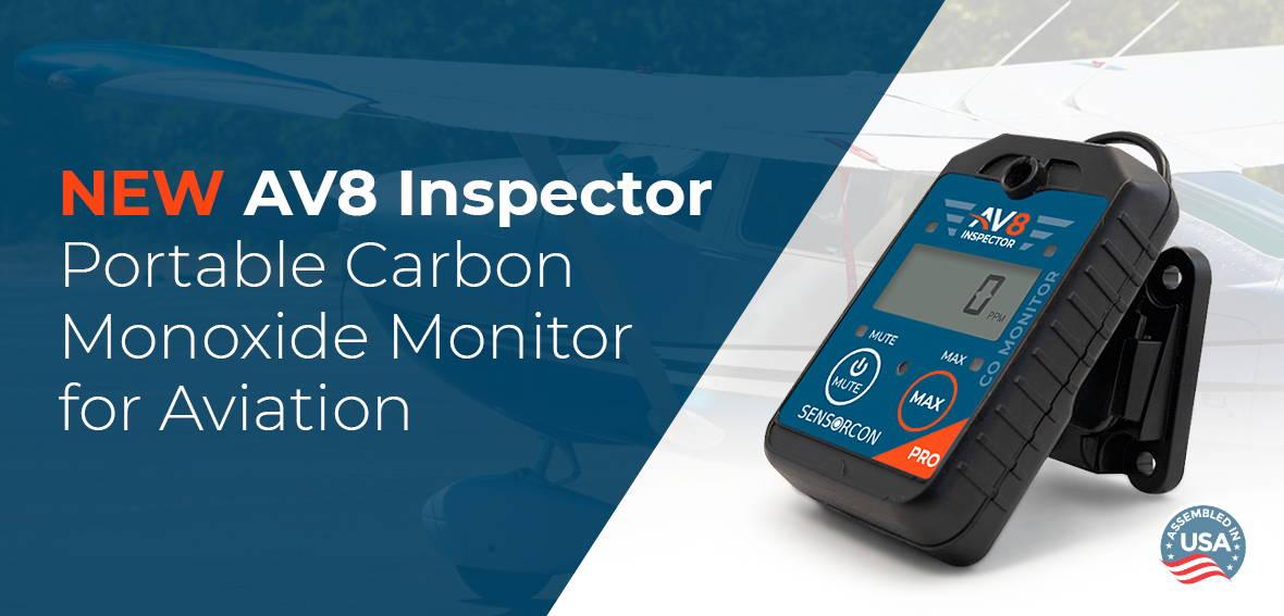 NEW AV8 Inspector Portable Carbon Monoxide  Monitor for Aviation - Assembled in USA