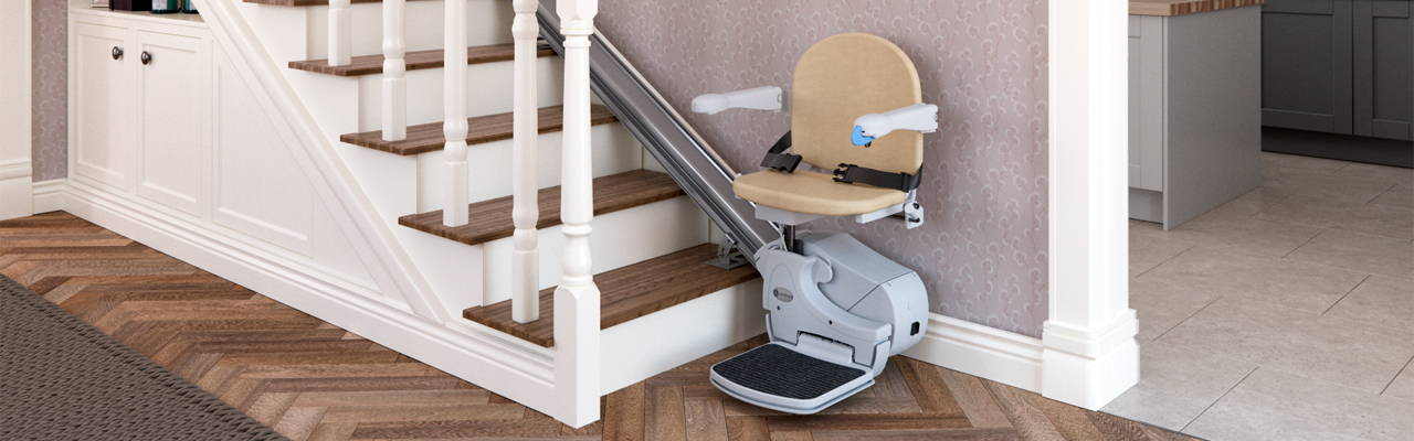 Handicare Simplicity 950 stair lift chair straight banner | VIVA Mobility USA - Orlando, FL