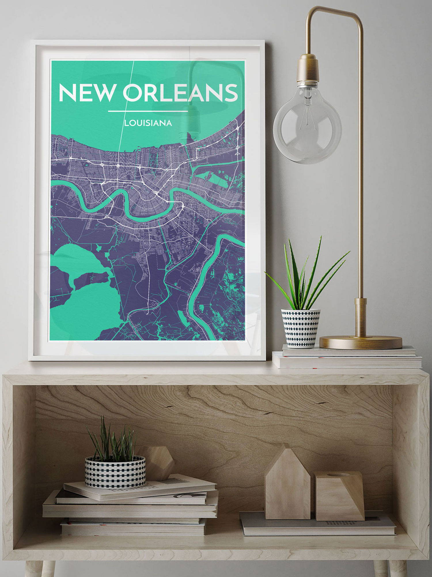 City Map Art Print of New Orleans